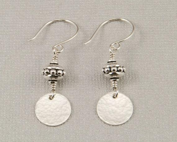 Hammered silver disc earrings, beaded dangle earrings, silver circle earrings