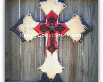 Wall CROSS - Wood Cross - Large - Antiqued Red, White, & Blue