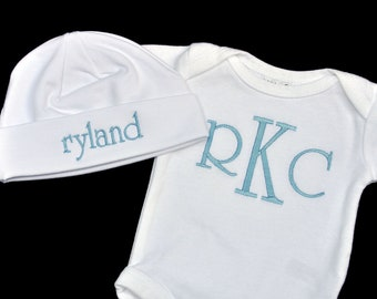 Monogrammed Baby Bodysuit and Beanie Cap Set / Newborn - 18 months