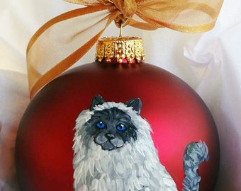 Birman Seal Point Cat Hand Painted Christmas Ornament - Can Be Personalized with Name