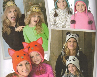 Owl Hat, Cat Hat, Panda Hat, Monkey Hat, Frog, PATTERN to sew, Adult & Children, 6 sizes
