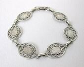 Vintage Bracelet Blank Metal Finding Antiqued Silver Ox Filigree vfd0214 (1)