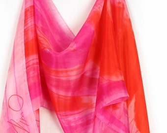 Silk scarf in bright orange and pink/ Hand painted silk scarf/ Long abstract floral scarf/ Silk painting by Dimo/ Birthday gift for woman