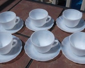 Set of 6 American Sweetheart  White Opalescent Cups and Saucers