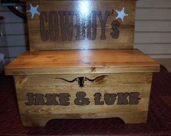 Handmade Custom Painted Western Step Stool