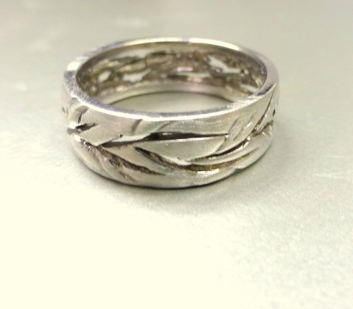 and wedding band cutout leaf ring by