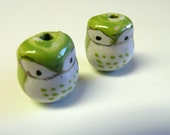Green Bright eyed baby Owls Beads