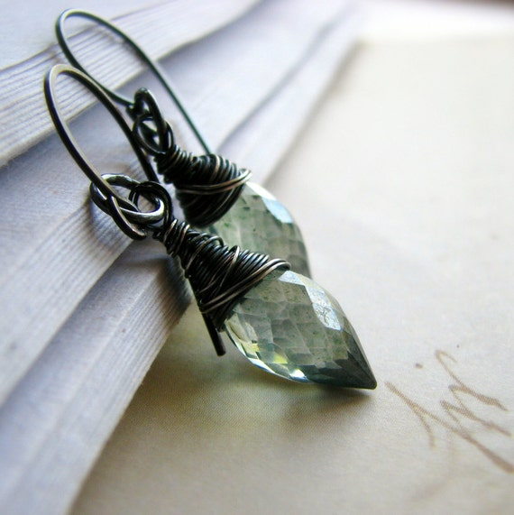 Wire wrapped gemstone earrings, sterling silver and mystic quartz earrings, romantic  - Sentimental in teal