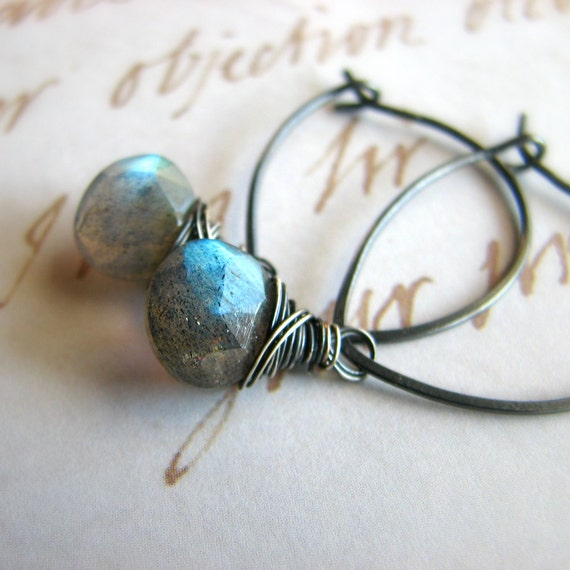 Wire wrapped gemstone earrings, sterling silver and labradorite earrings, leaf shaped hoops - Solaris