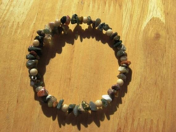 Fancy Jasper Bracelet Gemstone Chips and Glass Beads on Wire