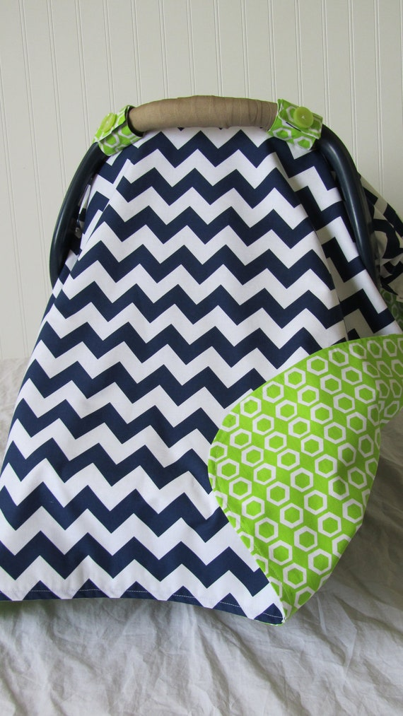 baby car seat cover canopy for boy or girl lime green navy. Black Bedroom Furniture Sets. Home Design Ideas