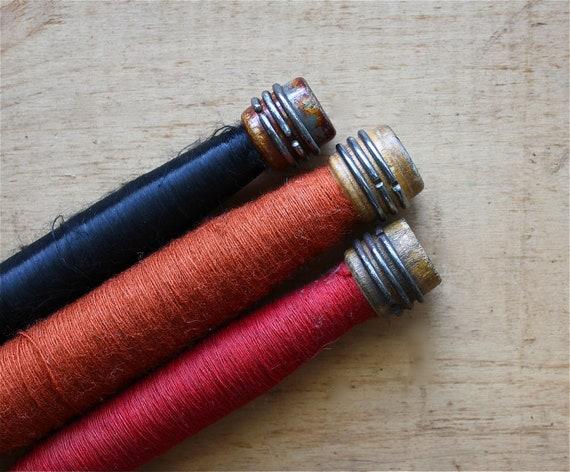 Rich and Rustic - Vintage Spools - Vintage Wooden Bobbin Spools - Berry - Black - Home Decor