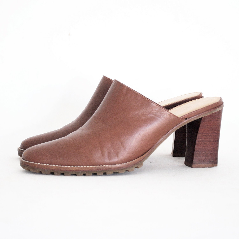 unisa high heeled clogs caramel leather slip on mules 8 5