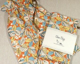 Shoe Bag, orange, brown, blue, retro leaf, lingerie, travel