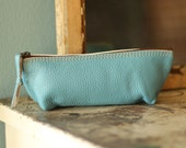 Light Blue Leather Pouch Blue Leather Coin Puse Blue Leather Makeup Pouch
