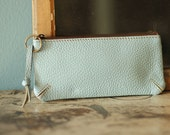 Soft Blue Leather Pouch Leather Makeup Bag Leather Coin Purse