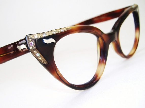Vintage 50s Tortoise Cateye with Rhinestones Sunglasses or Eyeglasses Frame