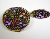 Stratton Black Floral Compact and Lipstick Mirror