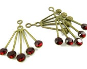 2 - RARE Vintage Art Deco Style Brass Dangle Finding with Swarovski Crystals Ear Jackets - Siam Red - 30x21mm .