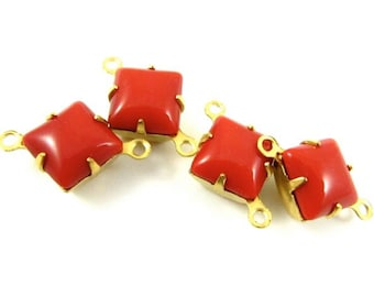 6 - Vintage Glass Square Stones in 2 Rings Closed Back Brass Prong Settings - Opaque Cherry Red - 8x8mm