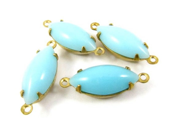 4 - Vintage Glass Navette Stones in 2 Rings Closed Back Brass Prong Settings - Opaque Turquoise -15x7mm