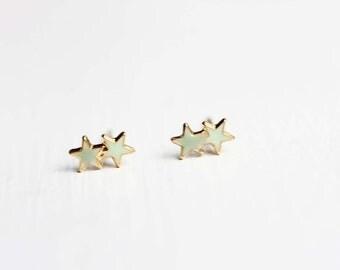 Star Studs, Small Star Studs, Tiny Star Studs, Blue Star Studs, Blue Studs