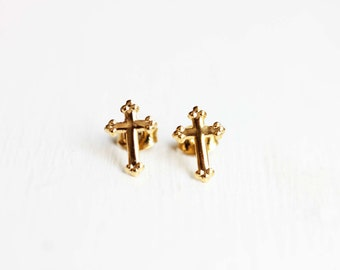 Gold Cross Studs, Cross Studs, Religious Studs, Cross Shaped Studs, Cross Earrings, Small Cross Studs, Communion Studs, Christian Earrings