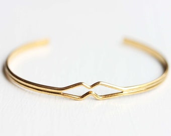 Geometric Cuff Bracelet, Diamond Bend Cuff Bracelet, Gold Cuff Bracelet, Diamond Shaped Bracelet, Small Gold Cuff Bracelet, Adjustable Cuff