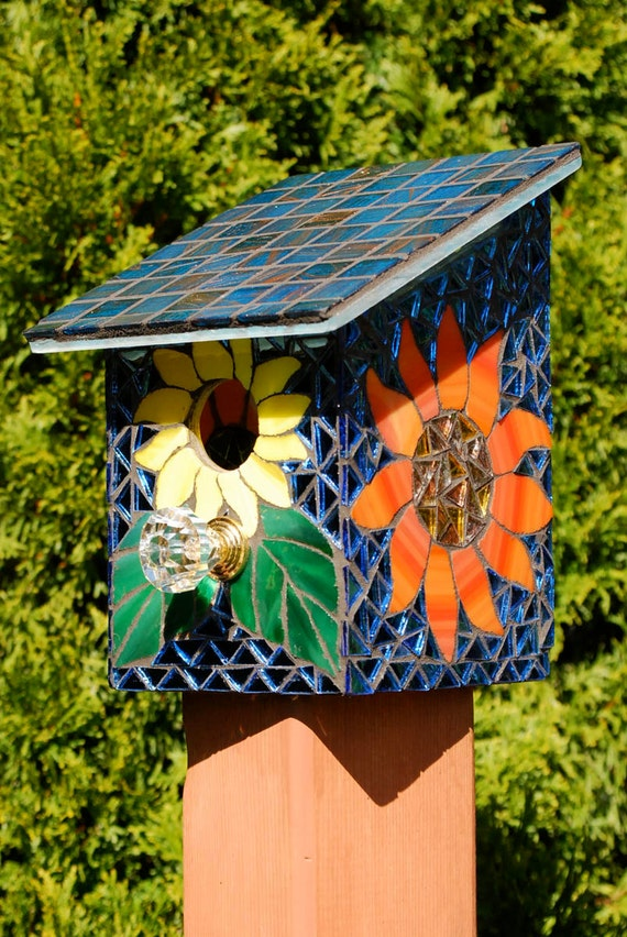 Bird House Stained Glass Mosaic Daisy Flower