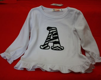 Tshirt with Appliqus first letter Material your choiice