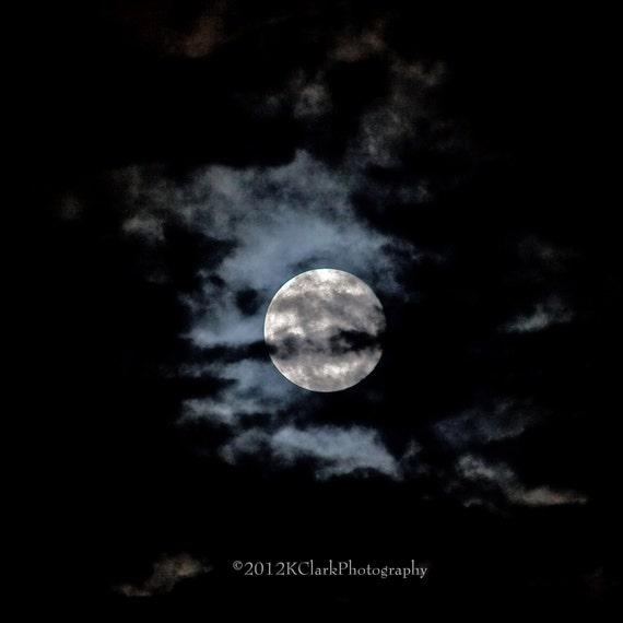 Moon Photography Blue Haunting Scary Spooky Dark Cloudy Sky Halloween Holiday Home Decor Moody Magical Dream