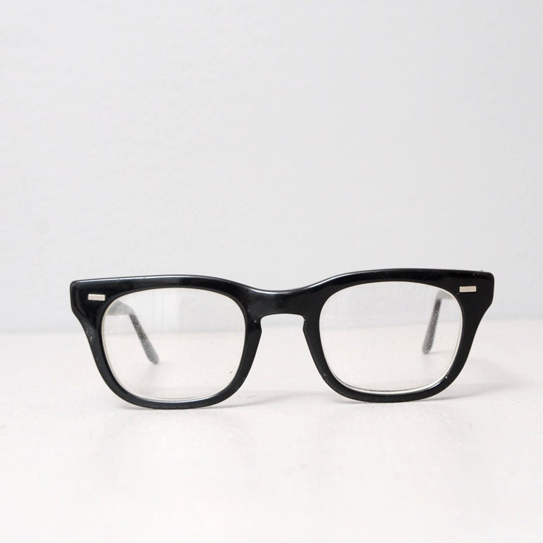 Glasses Frames Thick Black : 1950s Glasses Black Thick Frame Eye Glasses by ...