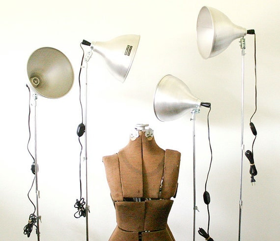 RESERVED for Cassidy - 2 Vintage Industrial Floor Lamps