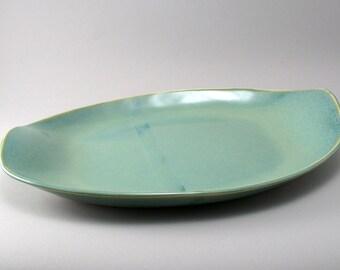 Serving Platter-Large Oval Platter-Ceramic Platter-Stoneware Platter-Teal-Pearl Green Glaze