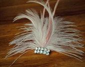Pink feather hair clip with vintage rhinestone button