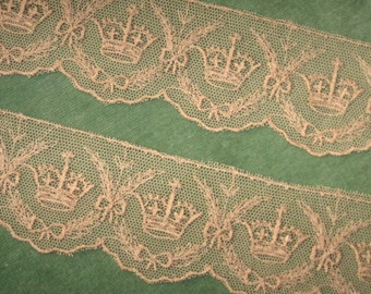 Circa 1930's Embroidered Net Lace Crowns & Bows
