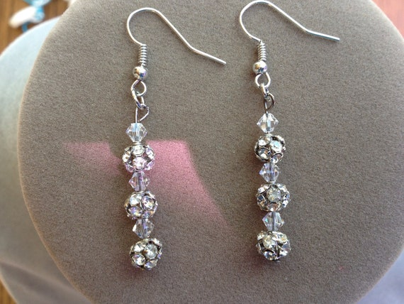 Dangle Earrings Featuring Crystal Balls and Beads