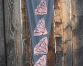 Unique Pink and Grey Diamond Leggings (Faded Glory Brand Size M 8-10)