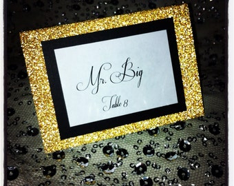 Gold Glitter And Black Place Cards For Weddings Bridal Shower Baby Rehearsal