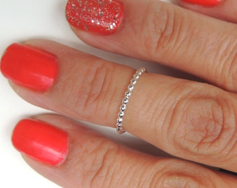 Above the Knuckle Ring Midi Ring Sterling Silver Beaded Band
