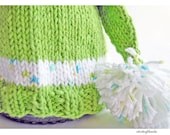 Baby Elf Hat Hand Knit Lime Green Cotton Yarn Photo Prop - Newborn