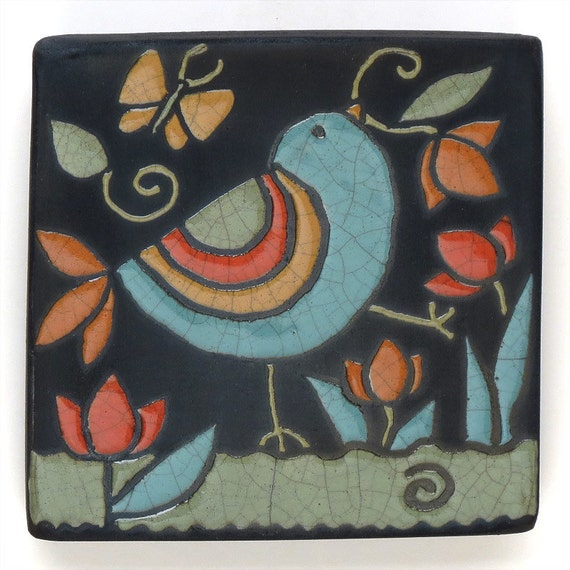 Birdceramic Tile Yellowred Handmade 4x4 Raku Fired Art