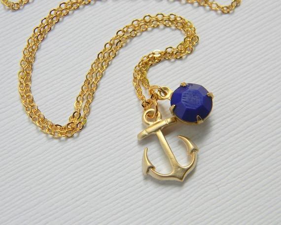 Gold Anchor Necklace - Gold Nautical Necklace - Vintage Swarovski Crystal - Dark Blue Swarovski - Ocean - Gift