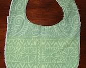 Baby Bib from Marimekko green Tulipunainen fabric,  Finland, SALE