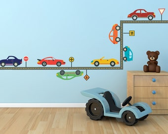 Cool Cars Wall Decals & Straight Gray Road Fabric Wall Decals, Removable and Reusable Eco-friendly