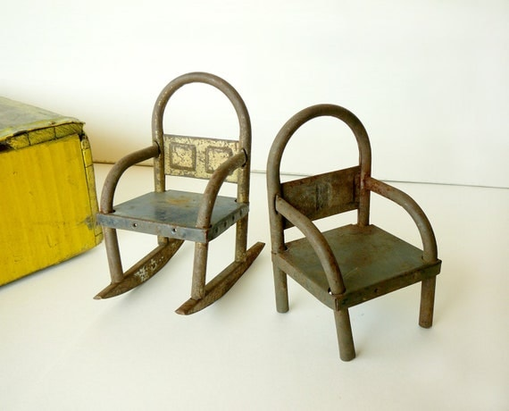 Vintage Tin Toy Doll Chairs