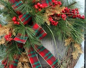 Christmas Wreath, Pine, Red Berries, Gold Pine, Plaid Ribbon