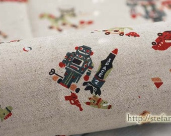 British Style Toys Collection, Nutcracker Robot Rocking Horse Teddy (Choose One Color) - Linen Cotton Blended Fabric(Fat Quarter)