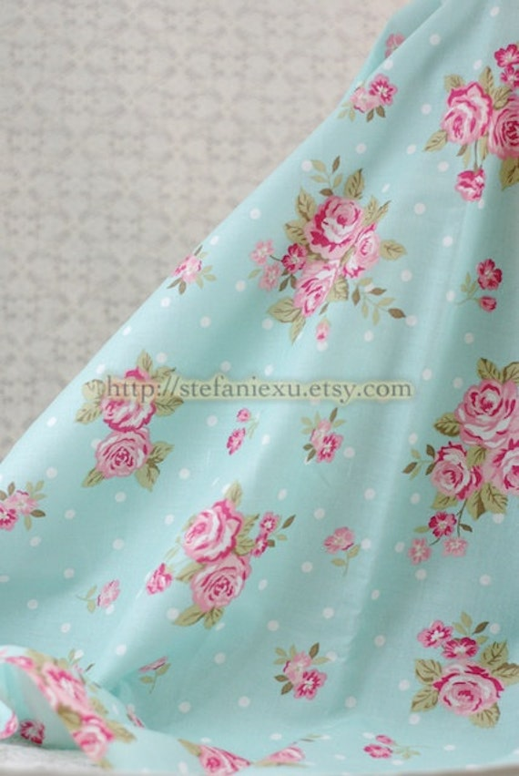 Shabby Chic Rose and White Polka Dots, Aqua Blue - Thin and Light Weight Cotton Fabric (0.75 Yard, LAST PIECE)