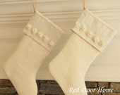 Personalized Burlap Linen Christmas Stocking Embroidered Winter White with small rosettes